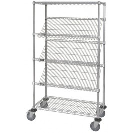 Mobile Slanted Shelf Cart