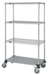Mobile Cart with 3 wire/1 solid bottom shelf