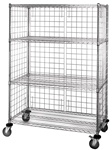 4 Shelf Wire Cart with Enclosure Panels