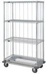 Dolly Base 4 Shelf Wire Cart with Rods & Tabs