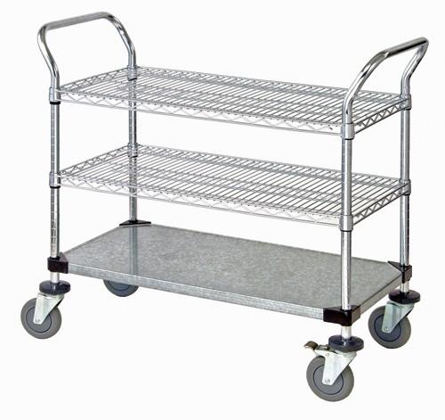 Quantum Wire Shelving Mobile Utility Cart-3 Shelves 18 x 36 x 38 #WRC-1836-3