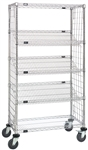 Enclosed Slanted Wire Shelf Cart, Casters included.